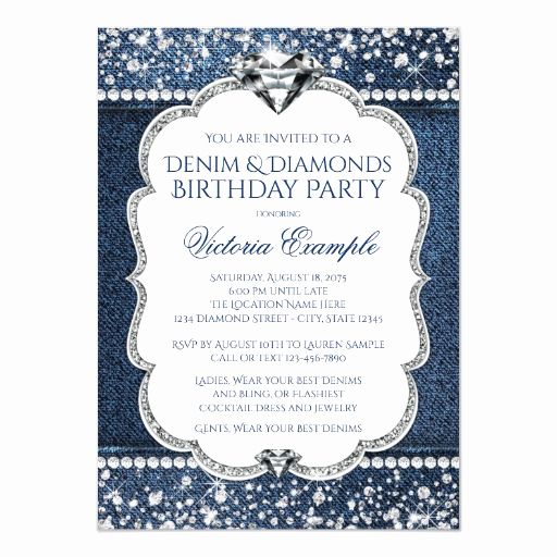 Denim and Diamonds Invitation Templates New Denim and Diamond Bling Birthday Party Invitations