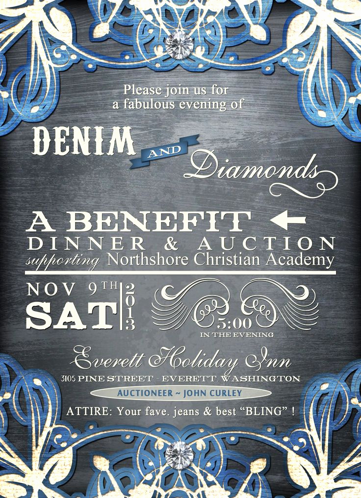 Denim and Diamonds Invitation Templates Unique Denim and Diamonds Mccs Auction Ideas