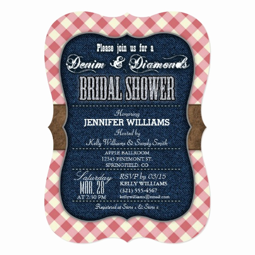 Denim and Diamonds Invitation Templates Unique Red Gingham Denim Bridal Shower Invitation