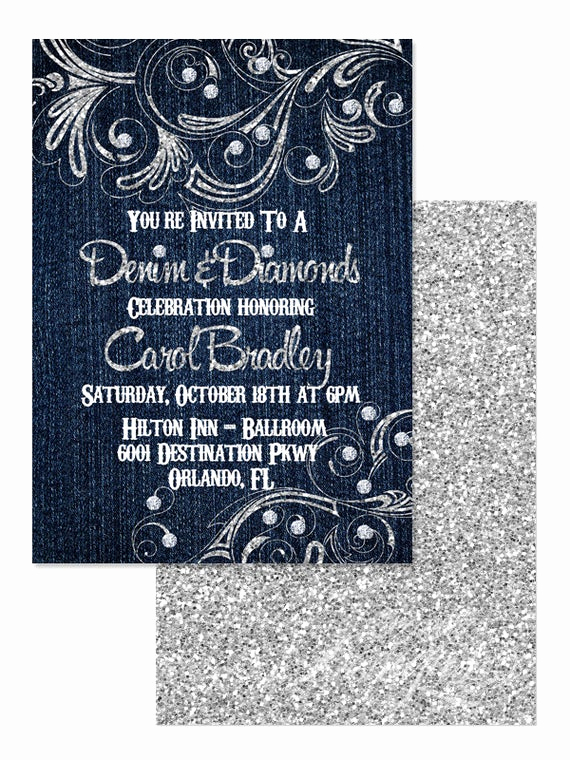 Denim and Diamonds Invitation Unique 5x7 Denim and Diamonds Invitation You Print Denim and