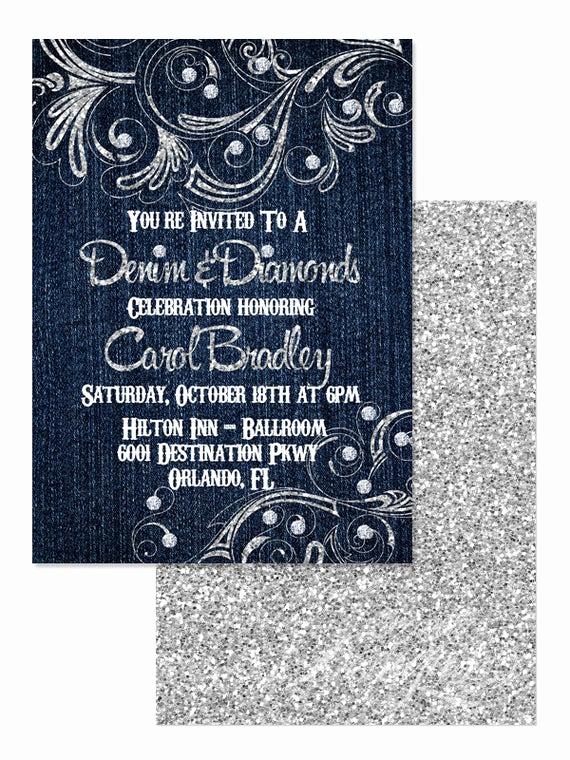 Denim and Diamonds Invitation Unique 5x7 Denim and Diamonds Invitation You Print Denim and