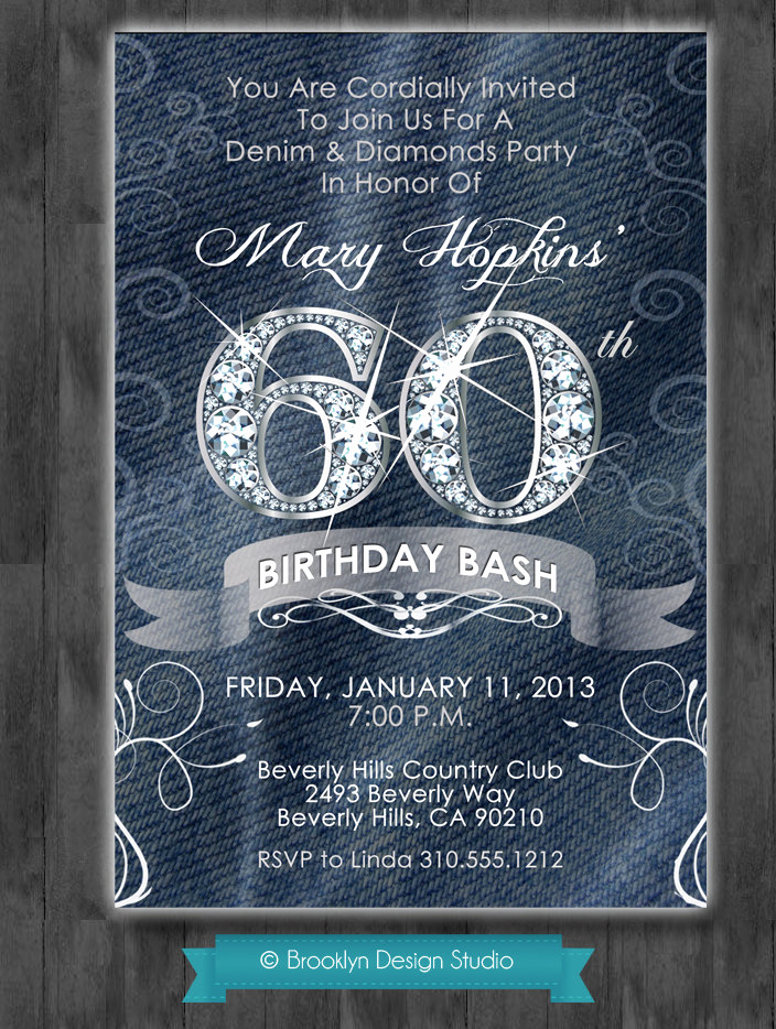 Denim and Diamonds Invitation Unique Denim and Diamonds Custom Designed Party by