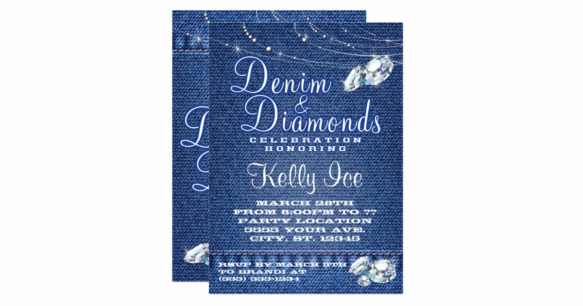 Denim and Diamonds Invitation Unique Denim and Diamonds Party Invitations