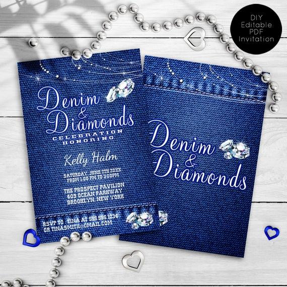 Denim and Diamonds Invitation Unique Denim and Diamonds Party Invitations Printable Invitation