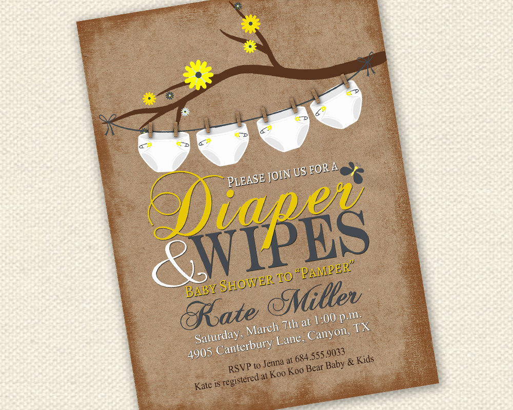 Diaper Baby Shower Invitation Fresh Baby Shower Invitation Diaper and Wipes Baby Shower