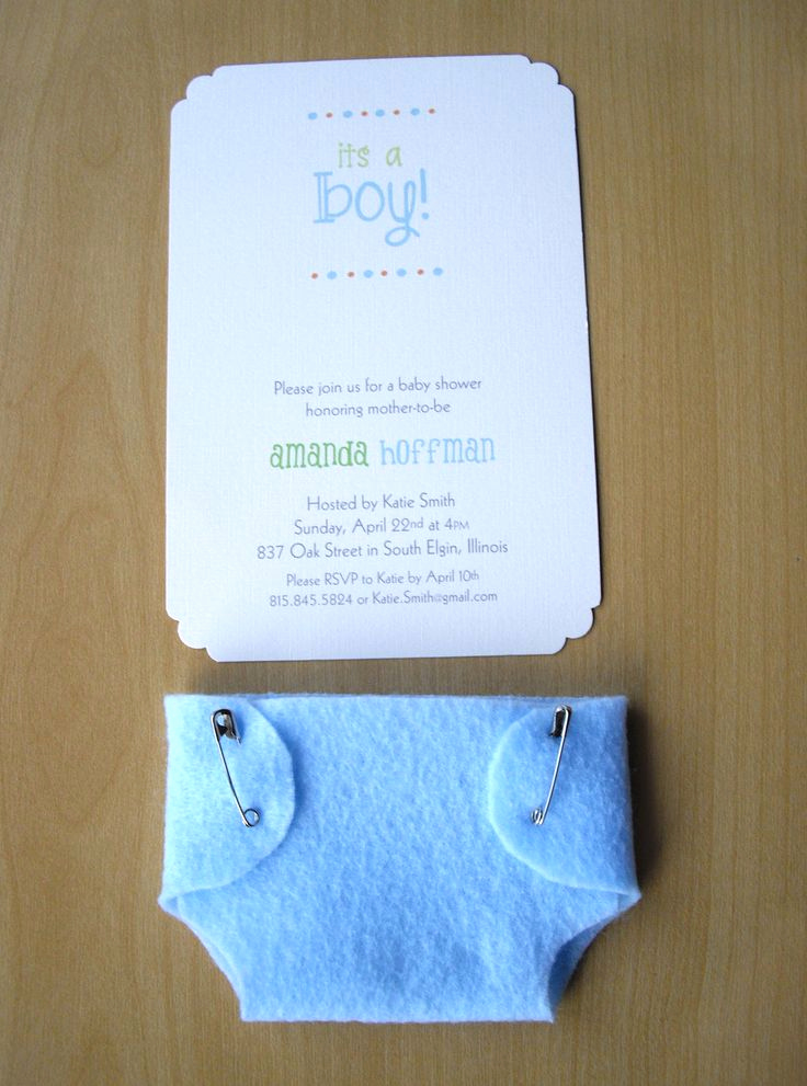 Diaper Baby Shower Invitation Inspirational Boy Baby Shower Invitations Blue Diaper Felt and