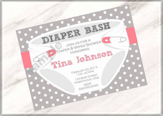 Diaper Baby Shower Invitation Lovely Diaper Party Invitation Wording