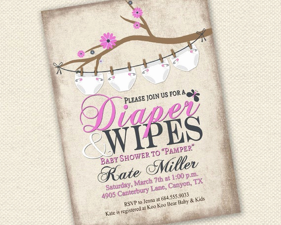 Diaper Baby Shower Invitation Templates Lovely Baby Shower Invitation Diaper and Wipes Baby Shower