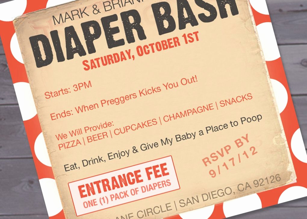 Diaper Baby Shower Invitation Templates Unique Free Diaper Party Invitations