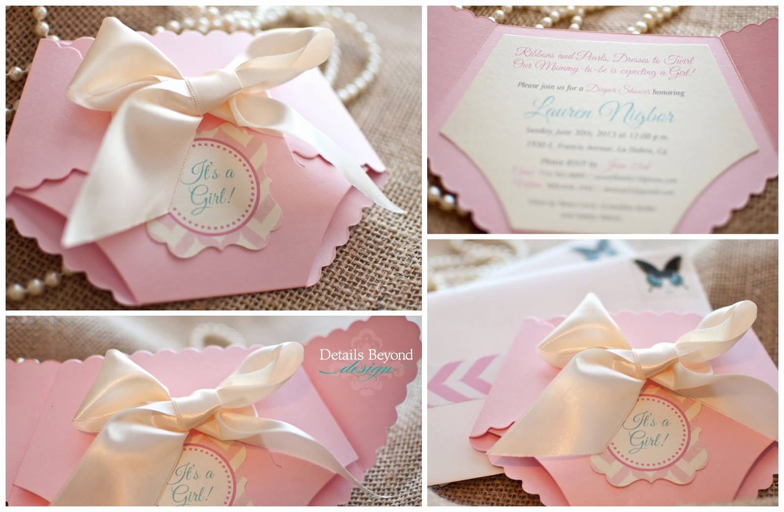 Diaper Invitation Cut Out Beautiful Details Beyond Design by Lauren It S A Girl Diaper