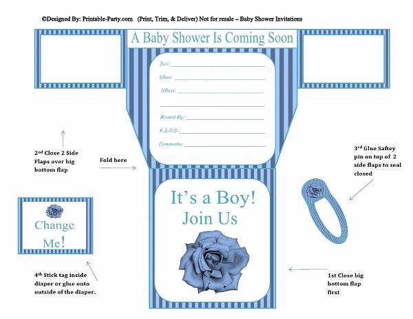 Diaper Invitation Template Free Fresh Boy Diaper Baby Shower Invitations