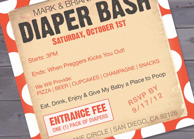 Diaper Invitation Template Printable Inspirational Diaper Bash Baby Shower Invitation Printable