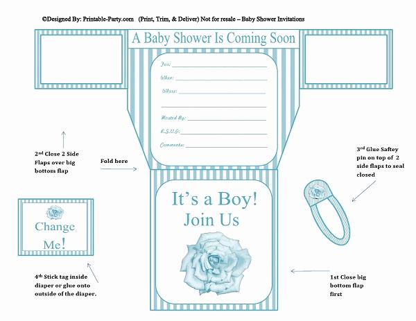 Diaper Invitation Template Printable Luxury Printable Boy Diaper Invitations