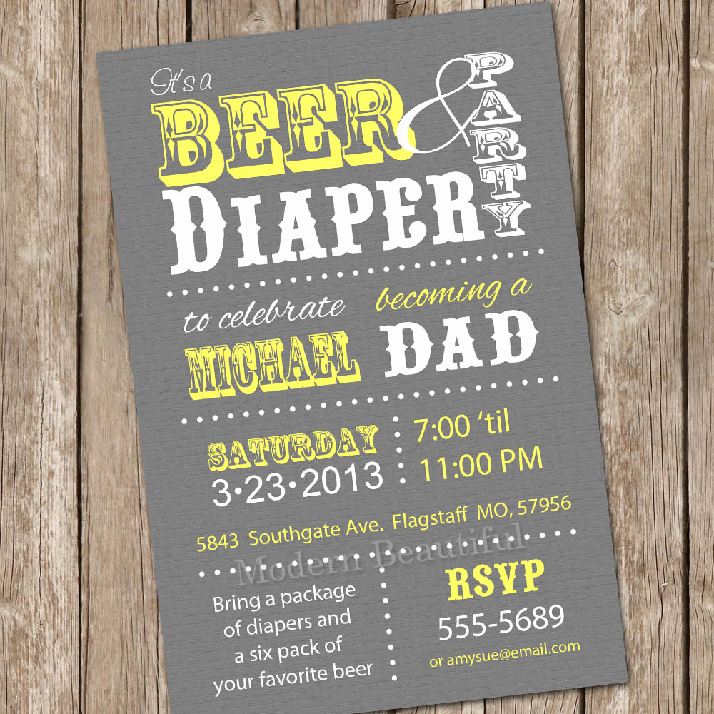 Diaper Party Invitation Template Beautiful Beer and Diaper Baby Shower Invitation Grey and Yellow Beer