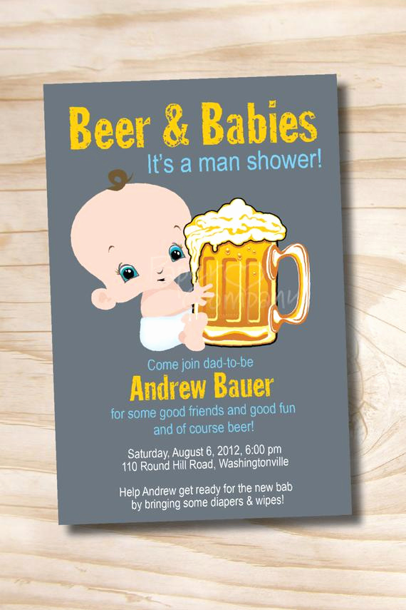 Diaper Party Invitation Template Beautiful Man Shower Beer and Babies Diaper Party Invitation Printable