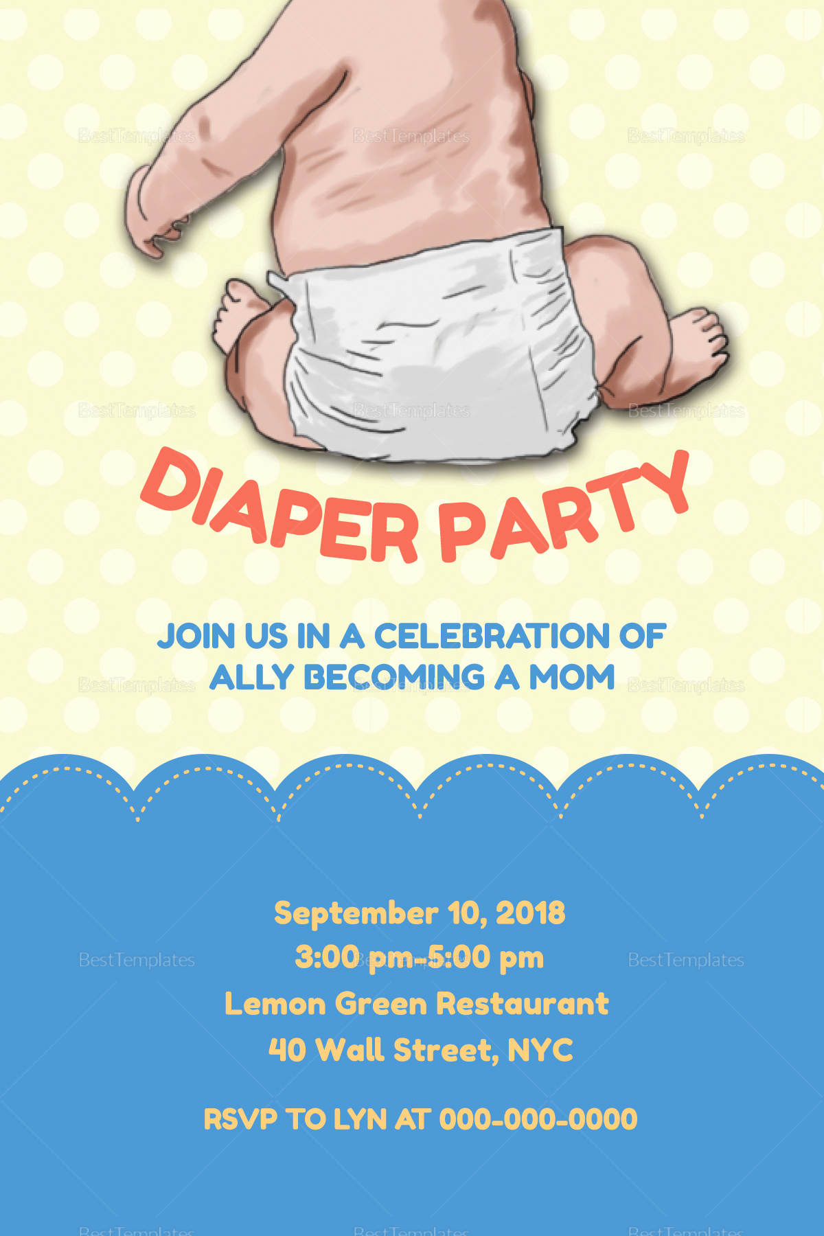 Diaper Party Invitation Template Inspirational New Mom Diaper Party Invitation Design Template In Psd