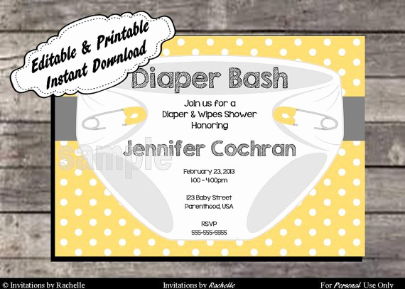 Diaper Party Invitation Templates Elegant Diaper Party Invitations Printable