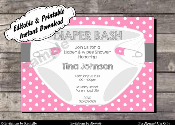 Diaper Party Invitation Templates Free Best Of Diaper Invitation for Baby Shower or Diaper Bash Editable