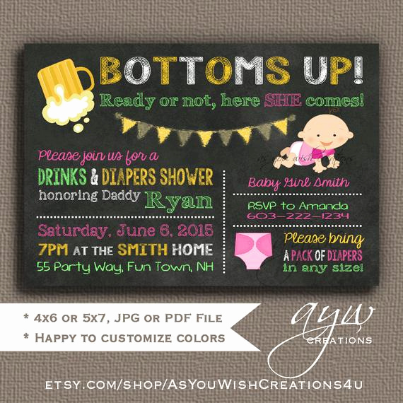 Diaper Party Invitation Templates Free Elegant Beer and Diaper Shower Invitation Girl Man Shower Man Diaper