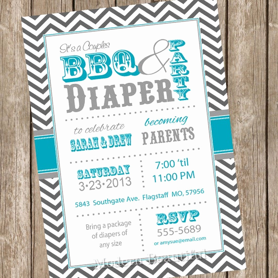 Diaper Party Invitation Templates Free Fresh Chevron Couples Bbq and Diaper Baby Shower Invitation