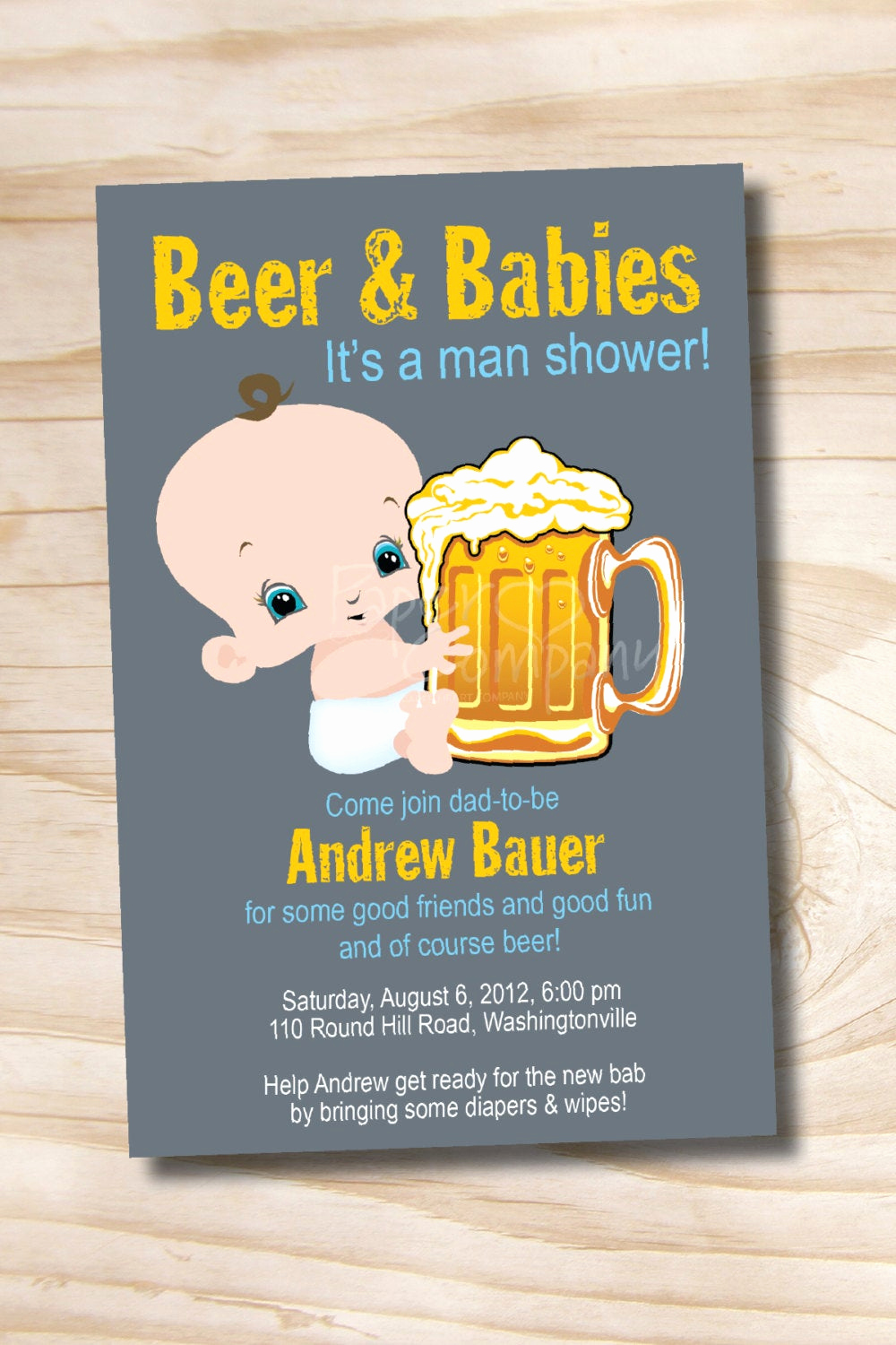 Diaper Party Invitation Templates Free New Man Shower Beer and Babies Diaper Party Invitation Printable