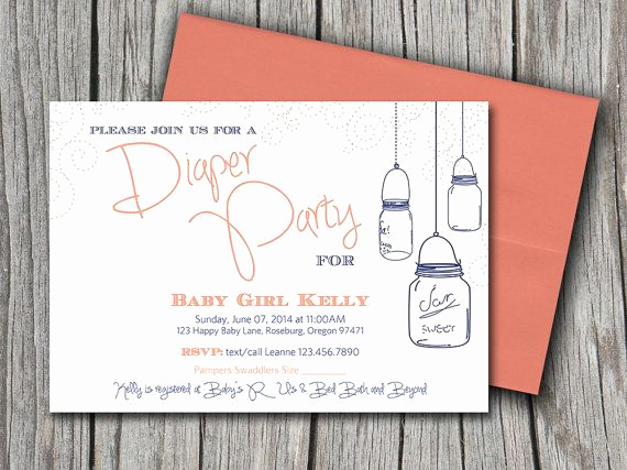 Diaper Party Invitation Templates Fresh Diaper Party Diy Invitation Template Peach orange Navy
