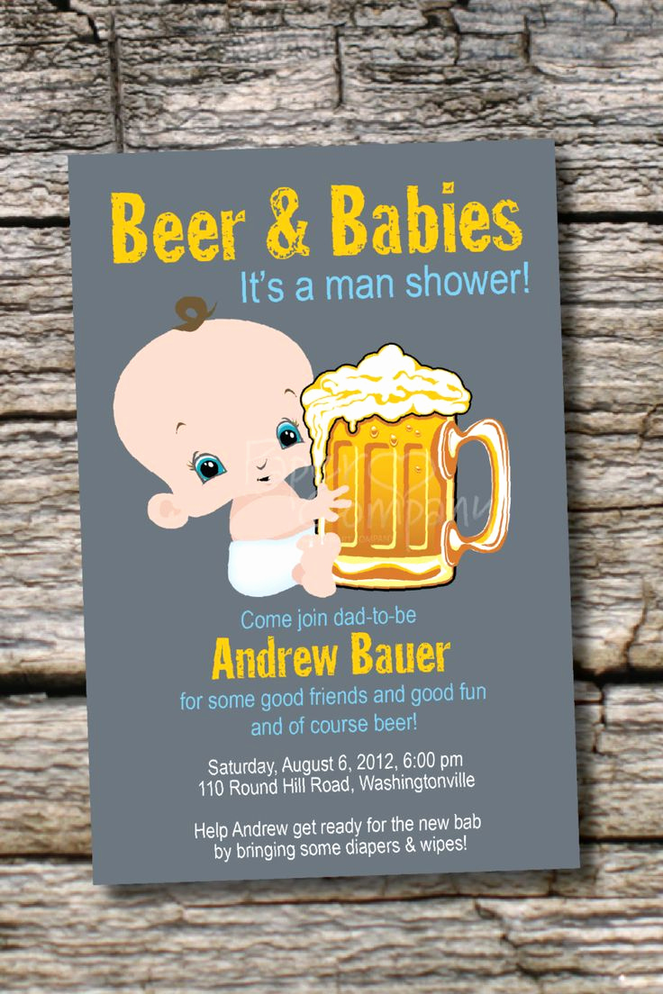 Diaper Party Invitation Templates Lovely Man Shower Beer and Babies Diaper Party Invitation