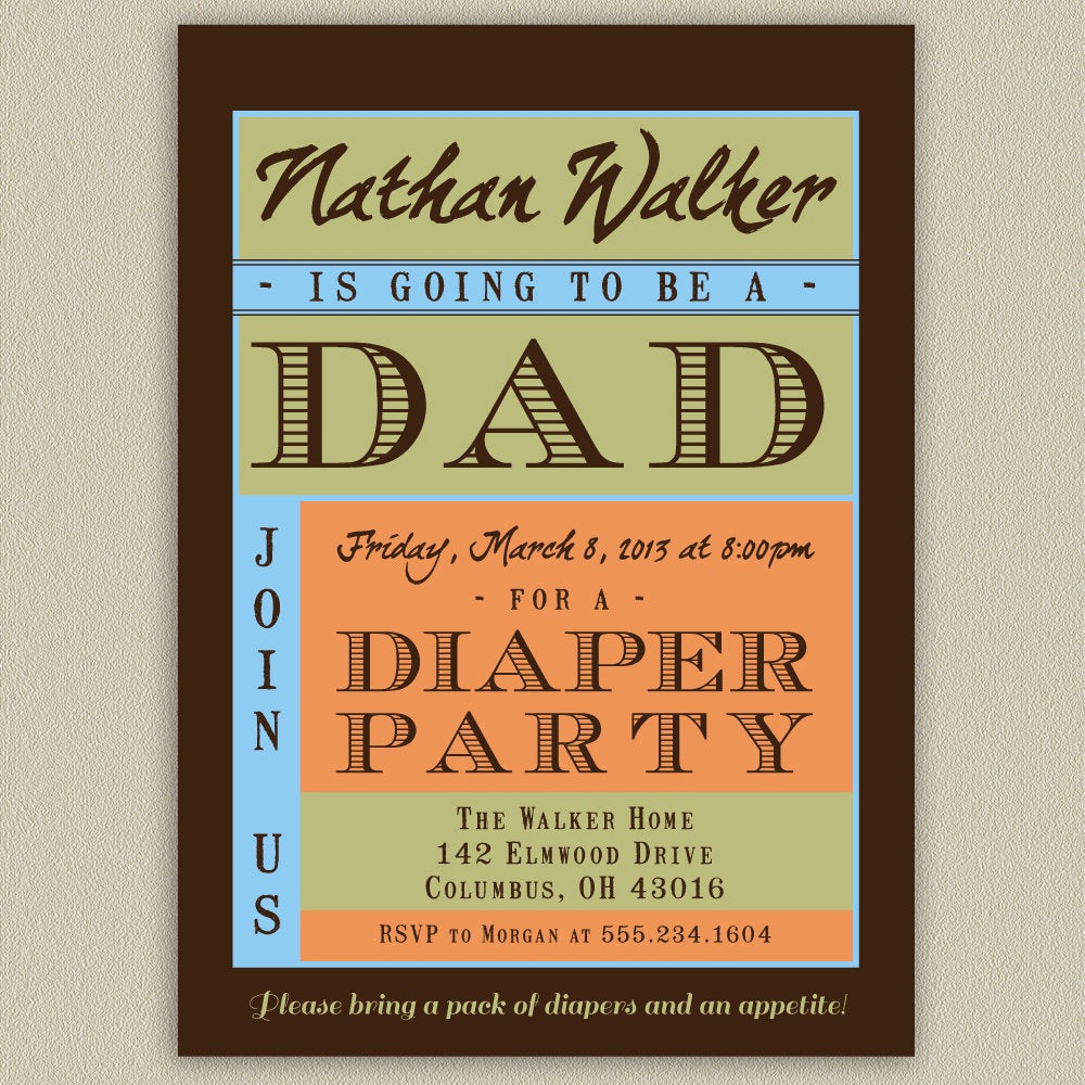 Diaper Party Invitation Wording Beautiful Diaper Party Shower for Dad Printable Invitation with Color
