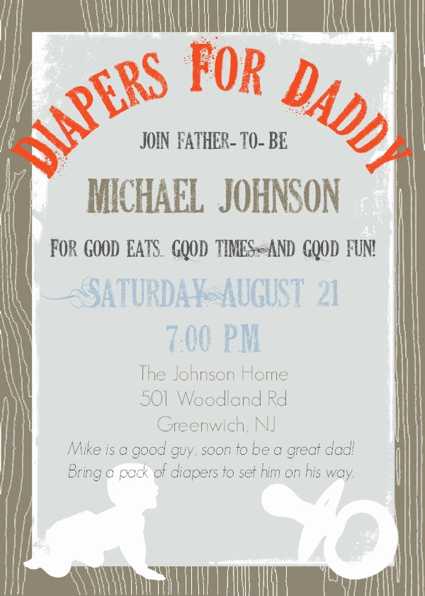 Diaper Party Invitation Wording Inspirational Daddy Diaper Baby Shower Dad Shower Invitation