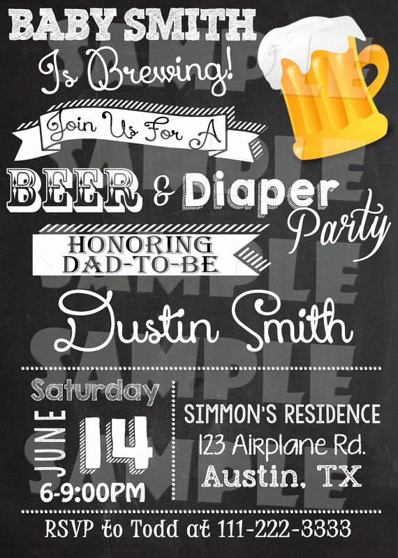 Diaper Party Invitation Wording Inspirational Printable Beer and Diaper Party Invitation by