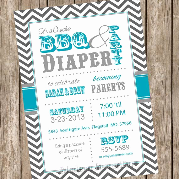 Diaper Party Invitation Wording Lovely Chevron Couples Bbq and Diaper Baby Shower Invitation