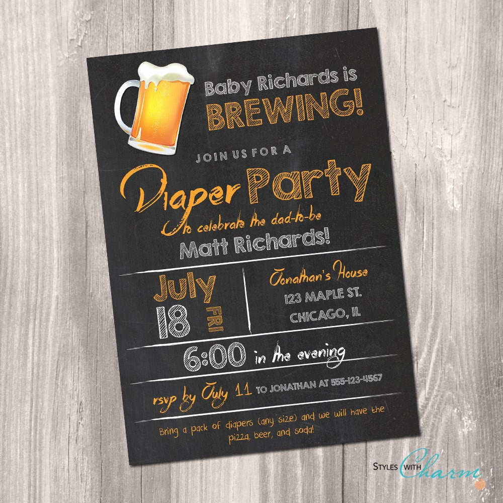 Diaper Party Invitation Wording Lovely Diaper Party Invitation Beer and Diaper Party Invitation
