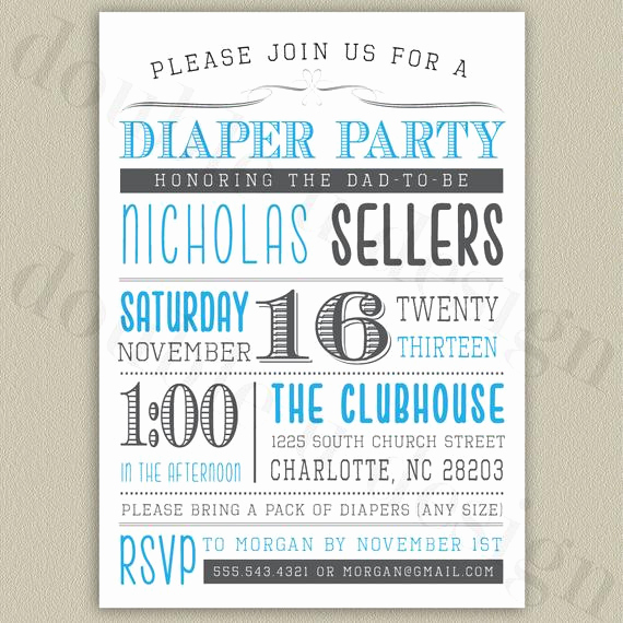 Diaper Party Invitation Wording New Diaper Party Printable Invitation with Color by Doubleudesign
