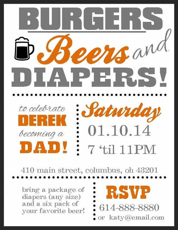 Diaper Party Invitation Wording New Items Similar to Diaper Party Invitation Burgers Beers