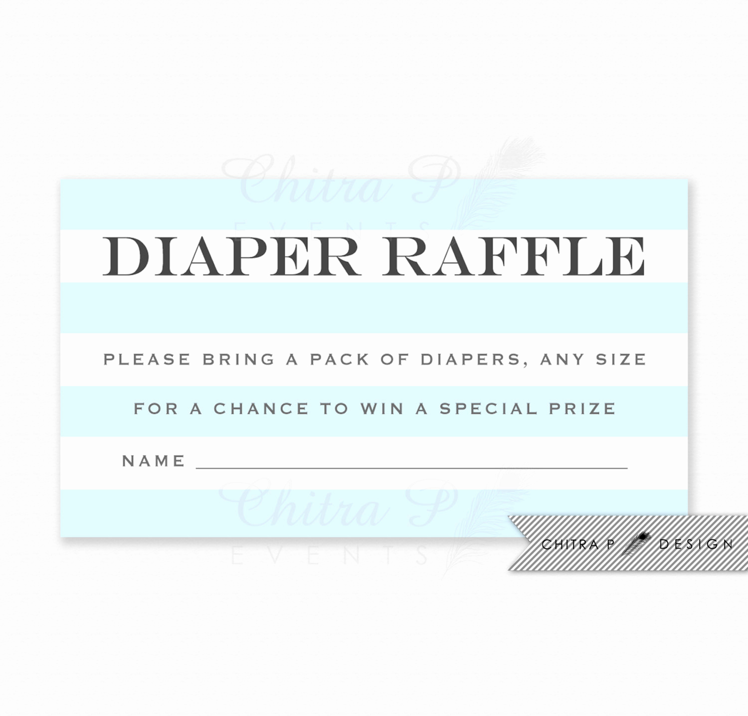 Diaper Raffle Invitation Inserts Best Of Blue Striped Diaper Raffle Invitation Insert Printed