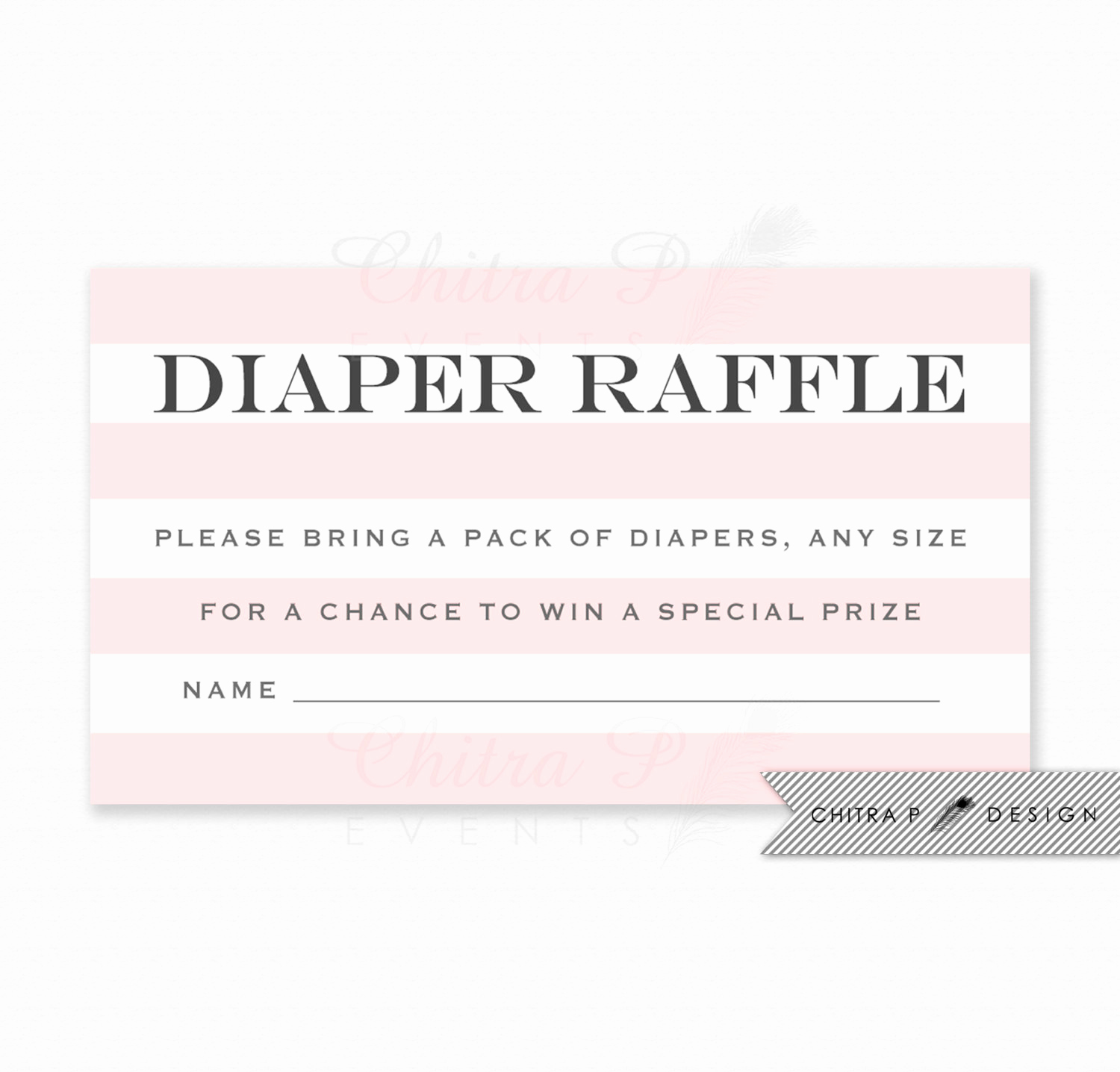 Diaper Raffle Invitation Inserts Best Of Pink Striped Diaper Raffle Invitation Insert Printed or
