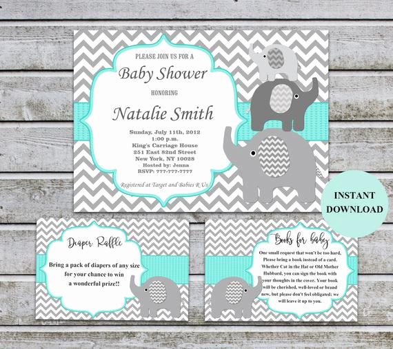 Diaper Raffle Invitation Inserts Elegant Elephant Baby Shower Invitation Diaper Raffle Book Inserts