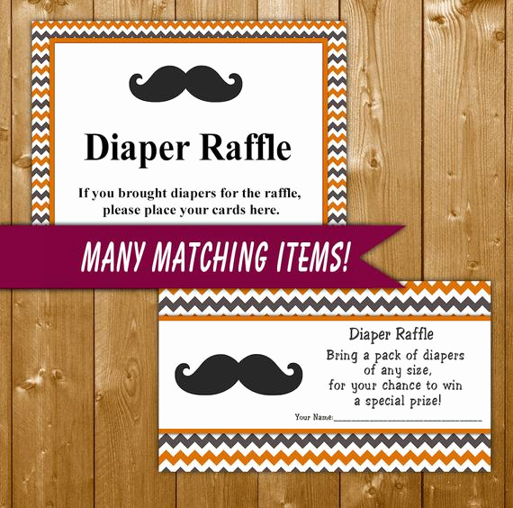 Diaper Raffle Invitation Inserts Elegant Mustache Diaper Raffle Invitation Insert orange Gray Baby