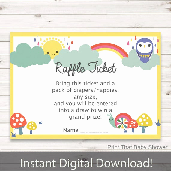 Diaper Raffle Invitation Inserts Lovely Baby Shower Diaper Raffle Tickets Rainbows Invitation Insert