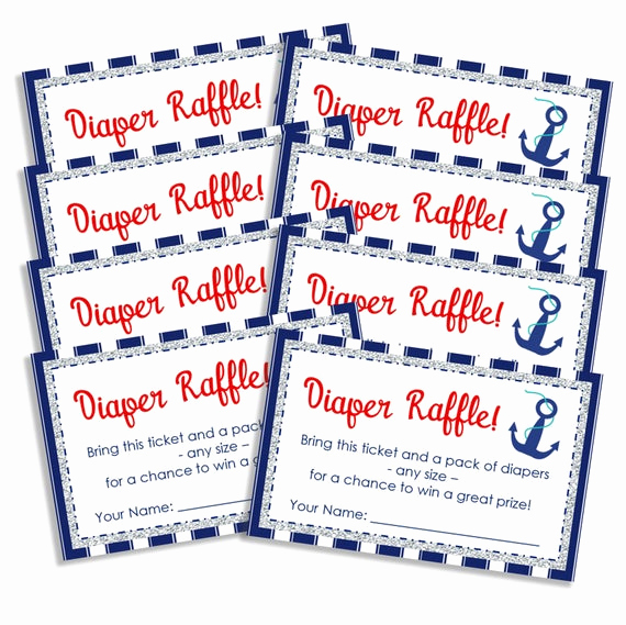 Diaper Raffle Invitation Inserts Lovely Nautical Diaper Raffle Invitation Inserts by