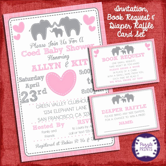 Diaper Raffle Invitation Inserts Luxury Elephant Baby Shower Girl Invitation with Diaper Raffle and