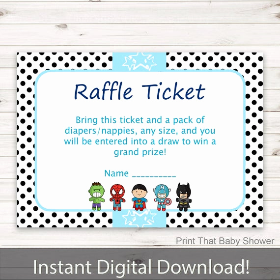 Diaper Raffle Invitation Inserts New Baby Shower Diaper Raffle Tickets Superhero Invitation