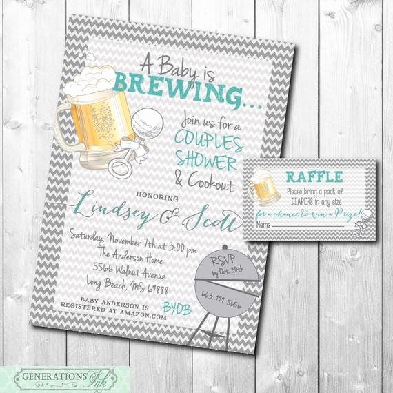 Diaper Raffle Wording On Invitation Awesome Couples Baby Shower Invitation and Diaper Raffle Ticket