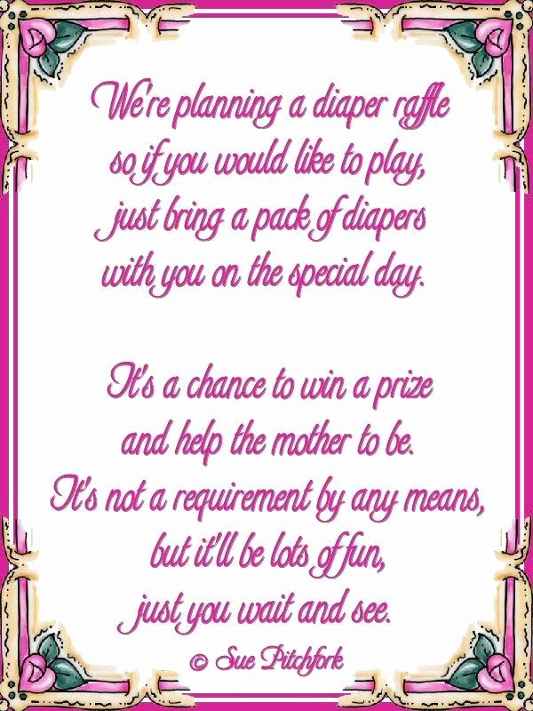 Diaper Raffle Wording On Invitation Fresh Diaper Wishing Well Poem