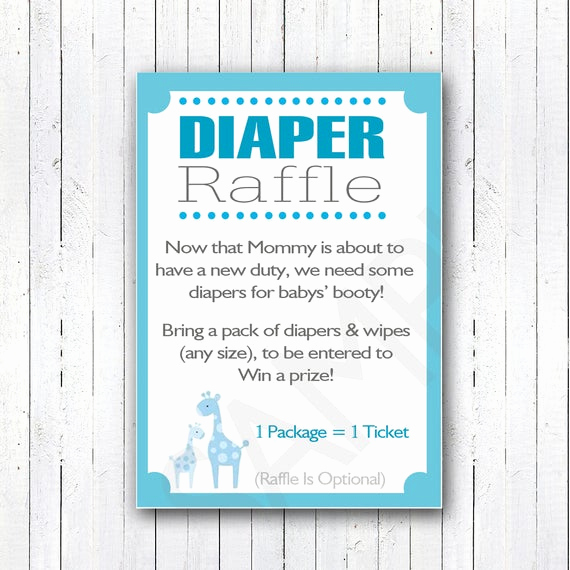 Diaper Raffle Wording On Invitation Inspirational Printable Diy Blue Safari Baby Shower Diaper Raffle Invitation