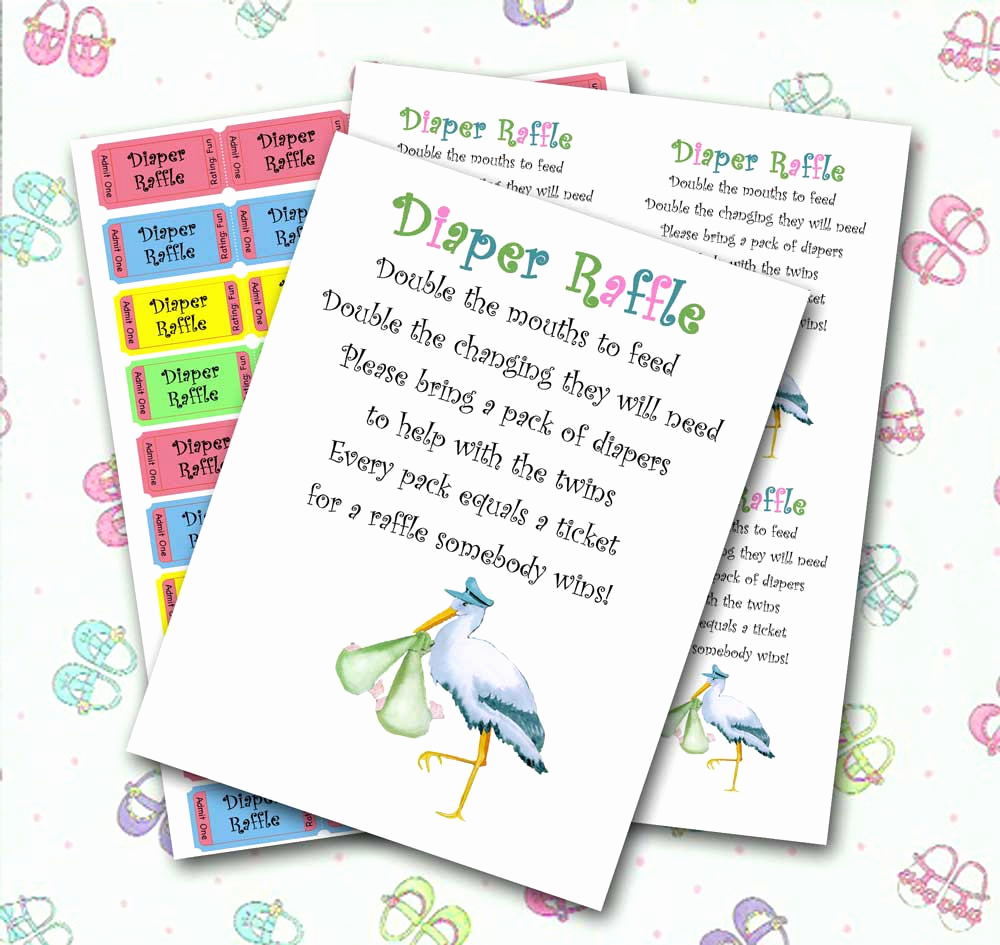 Diaper Raffle Wording On Invitation Lovely Twin Diaper Raffle Baby Shower Invitation Insert and Raffle