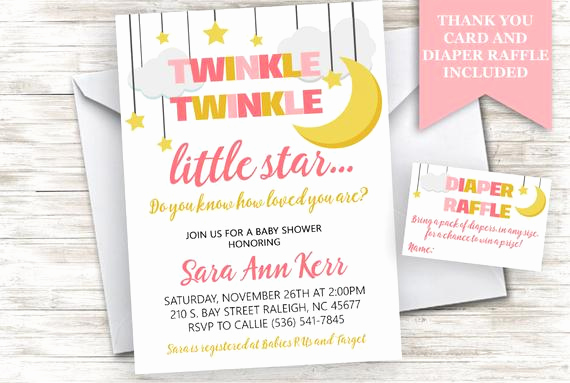 Diaper Raffle Wording On Invitation Lovely Twinkle Little Star Baby Shower Invite Invitation Girl Pink