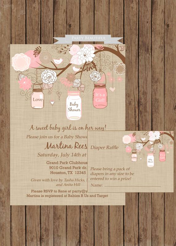 rustic girl baby shower invitation and