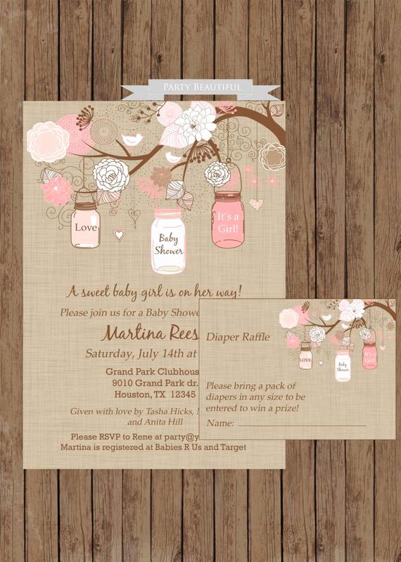 Diaper Raffle Wording On Invitation Luxury Rustic Girl Baby Shower Invitation Diaper Raffle Book by