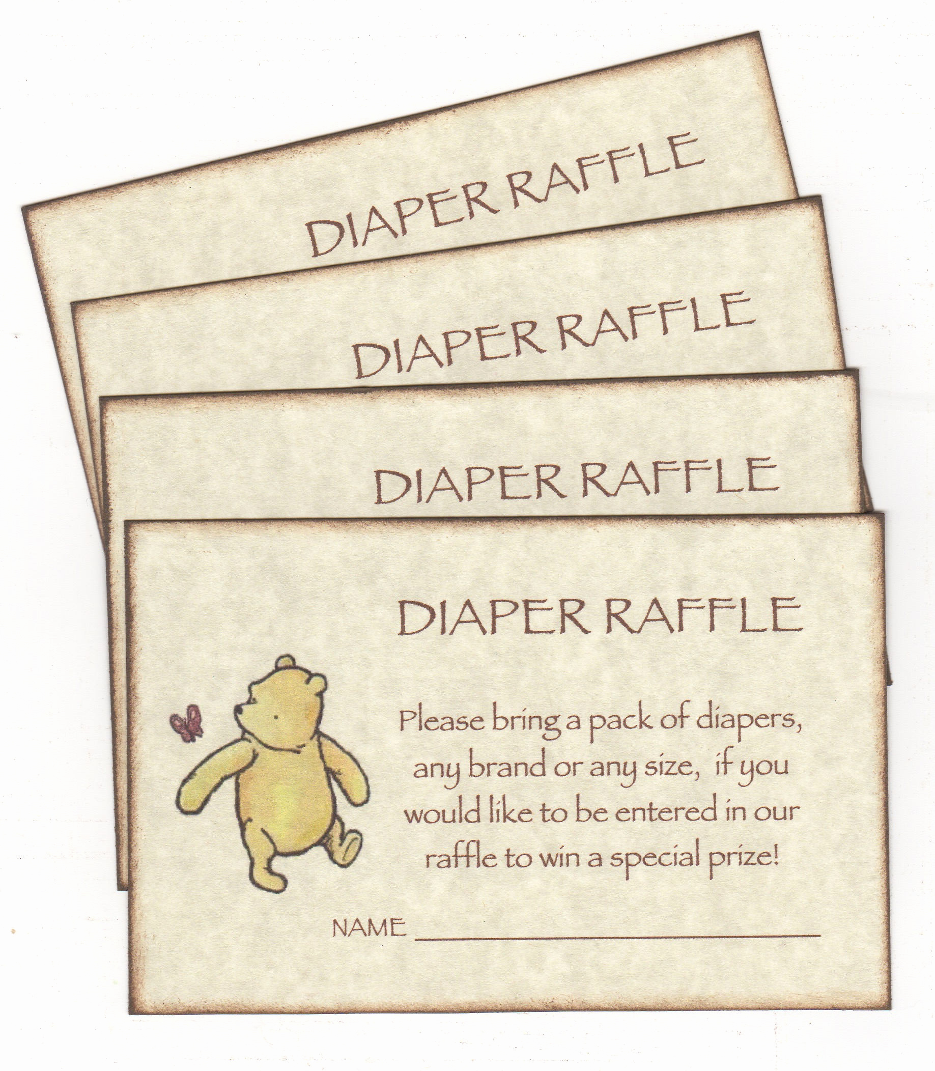 Diaper Raffle Wording On Invitation Luxury Winnie the Pooh Diaper Raffle Invitation Add for Baby